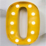 lettera luminosa O gialla