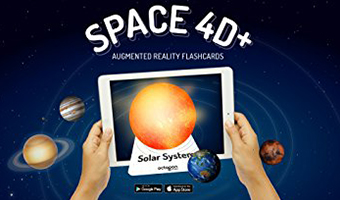 Space 4d carte con pianeti realtà aumentata