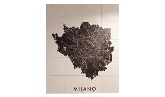 Quadro a pannelli mappa di milano