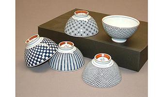set 5 ciotole ceramica giapponese