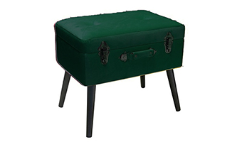 pouf bauletto pusher velluto verde scuro