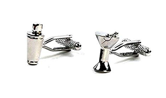 gemelli per camicia a forma di shaker e bicchiere martini