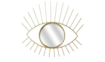 specchio a forma di occhio dorato