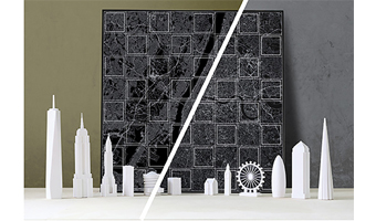Scacchiera skyline New York city vs London deluxe