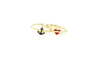 Duo anelli tatuaggi ancora cuore