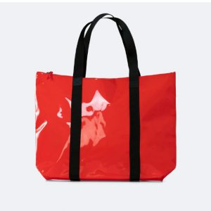 borsa tote bag rains rosso lucido